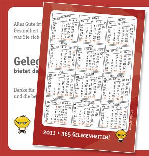 Postkarte DIN A6 mit Kalender
