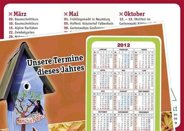 Scheckkartenkalender auf Postkarte