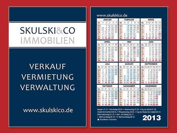 Scheckkartenkalender Immobilienmakler