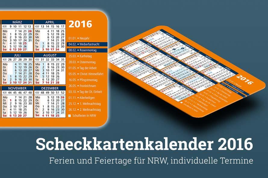 Visitenkarten Kalender NRW 2017 2016