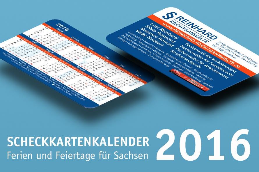 Scheckkartenkalender 2016 Sachsen
