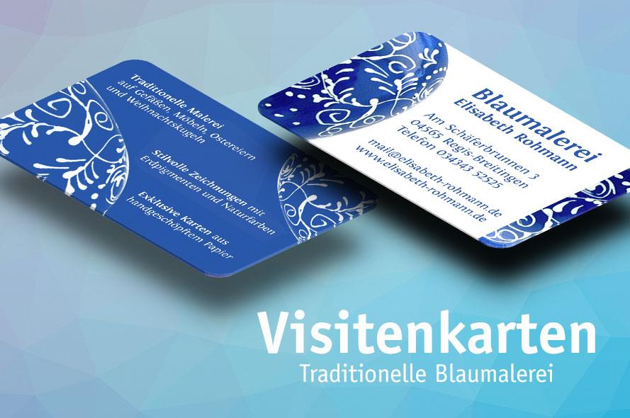 Visitenkarten für Künstlerin Blaumalerei