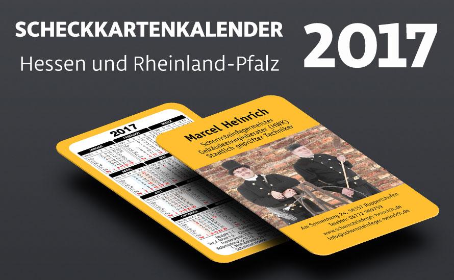 Scheckkartenkalender 2017 Ferien für Hessen und Rheinland-Pfalz