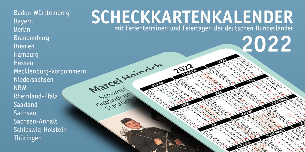 Scheckkartenkalender 2022