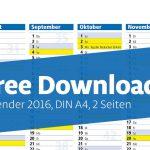 Free Download: Jahreskalender, DIN A4, 2 Seiten