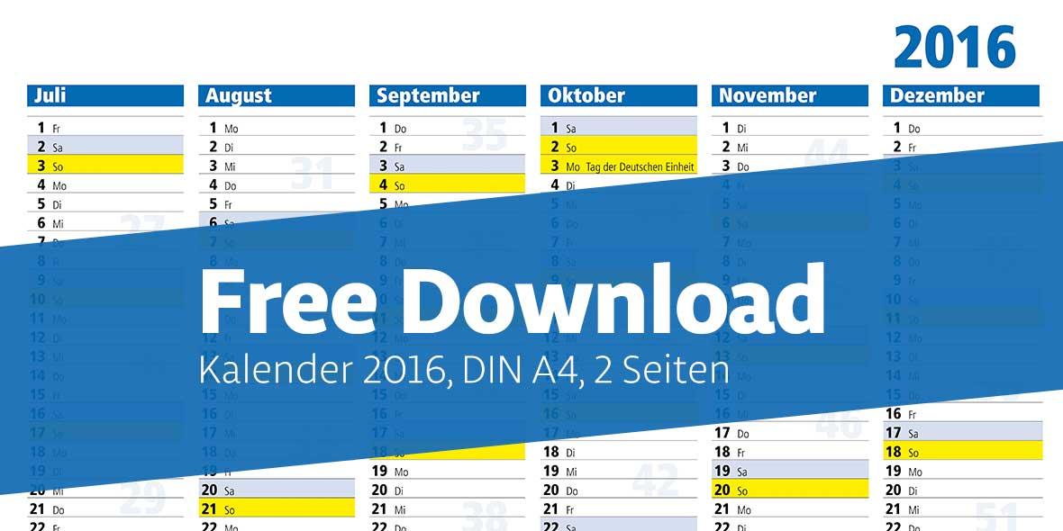 Free Download Kalender DIN A4