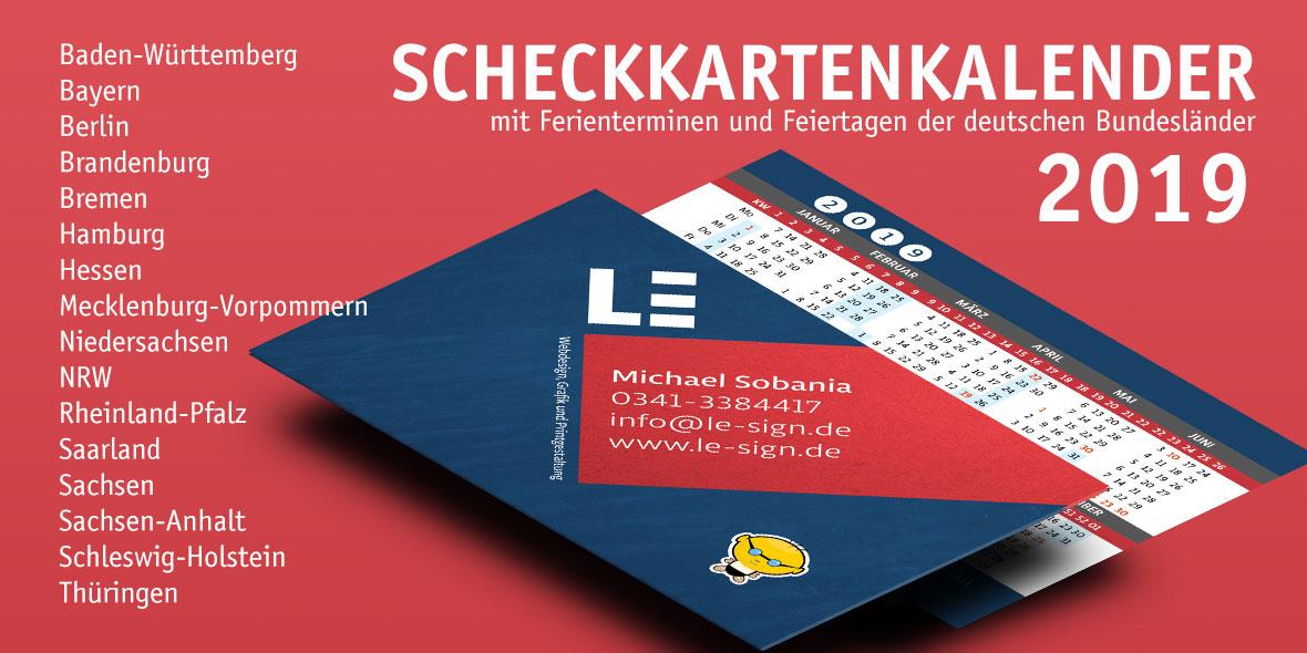Scheckkartenkalender 2019