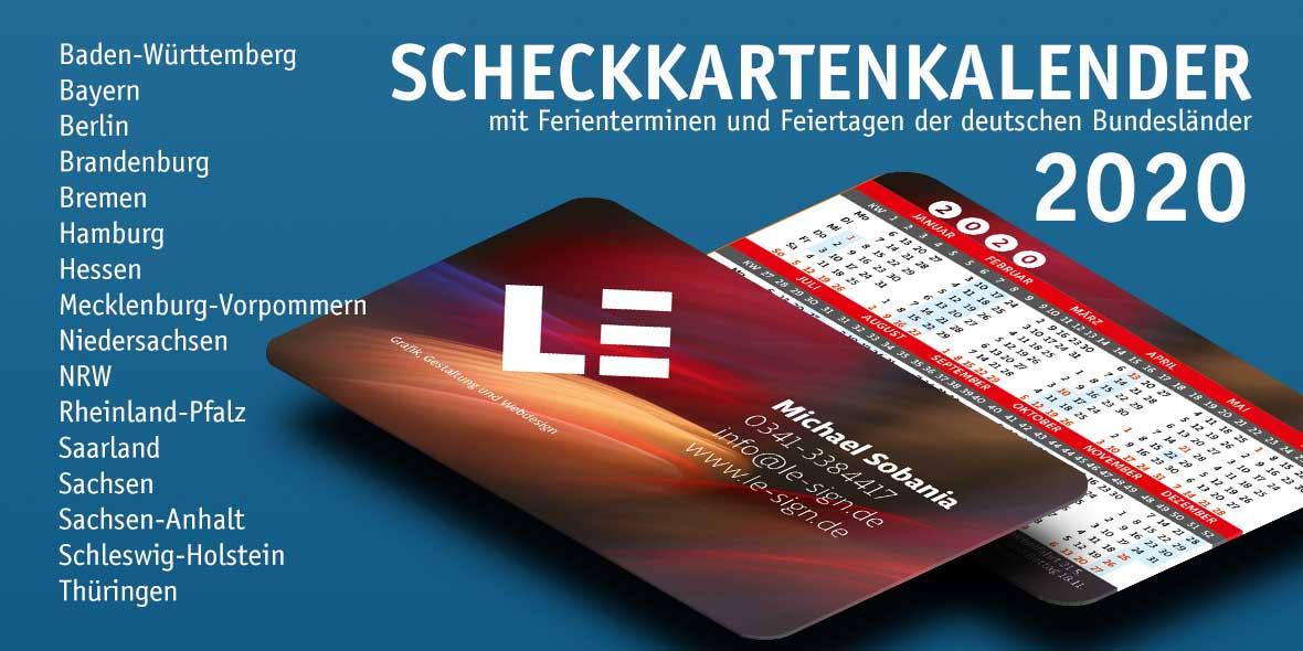 Scheckkartenkalender 2020