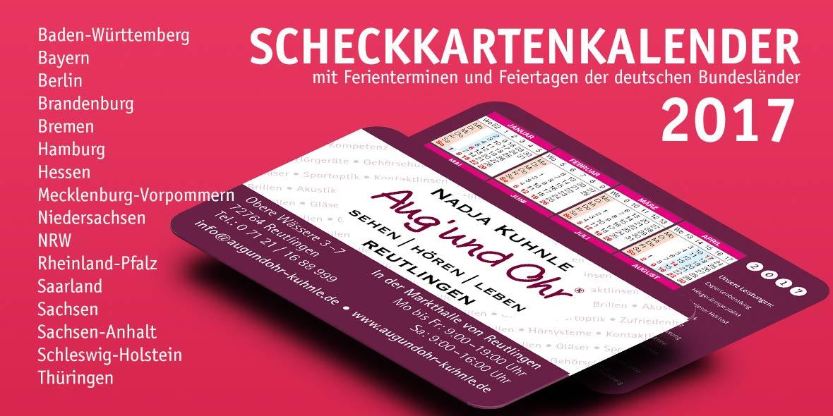 scheckkartenkalender 2017 gratis versand mit ups oder dpd innerhalb deutschland zahlung auf. Black Bedroom Furniture Sets. Home Design Ideas