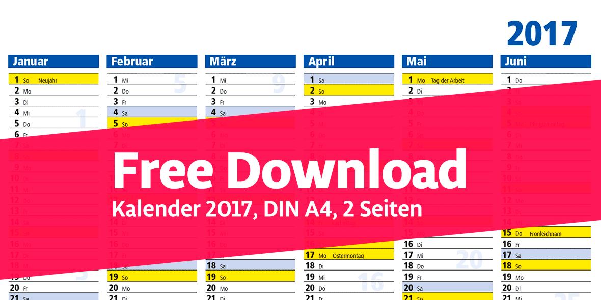 Kalender DIN A4, 2017