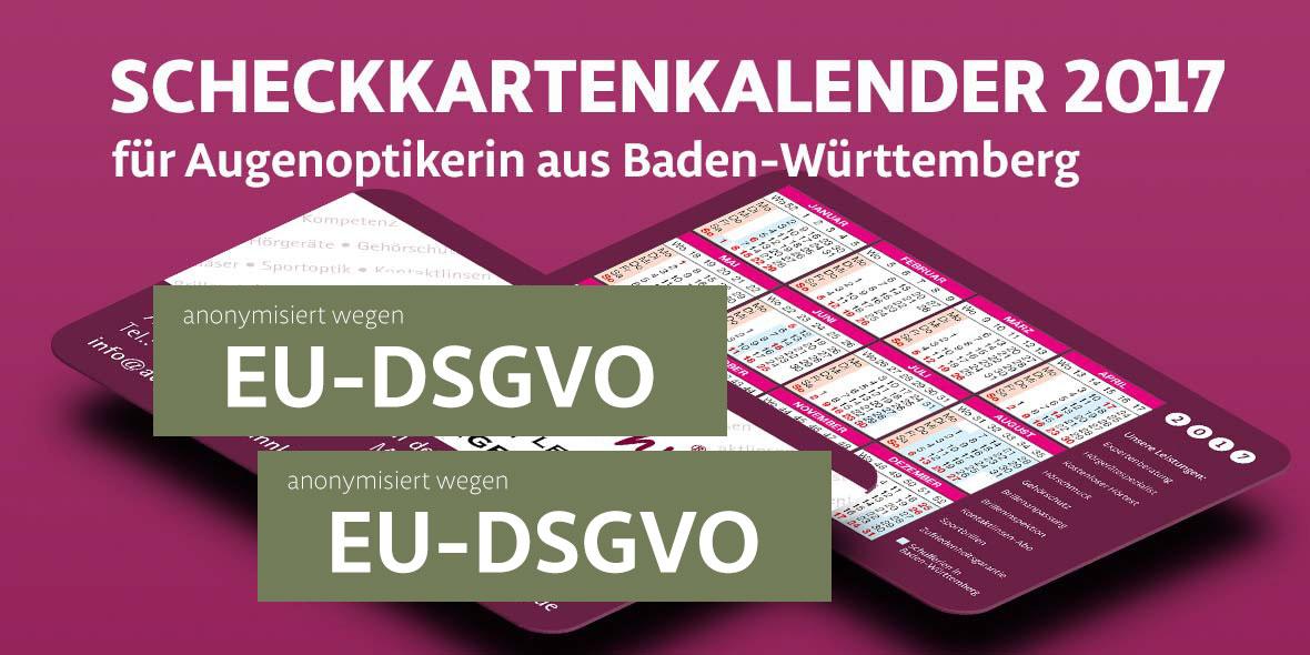 Scheckkartenkalender Augenoptiker Baden-Württemberg